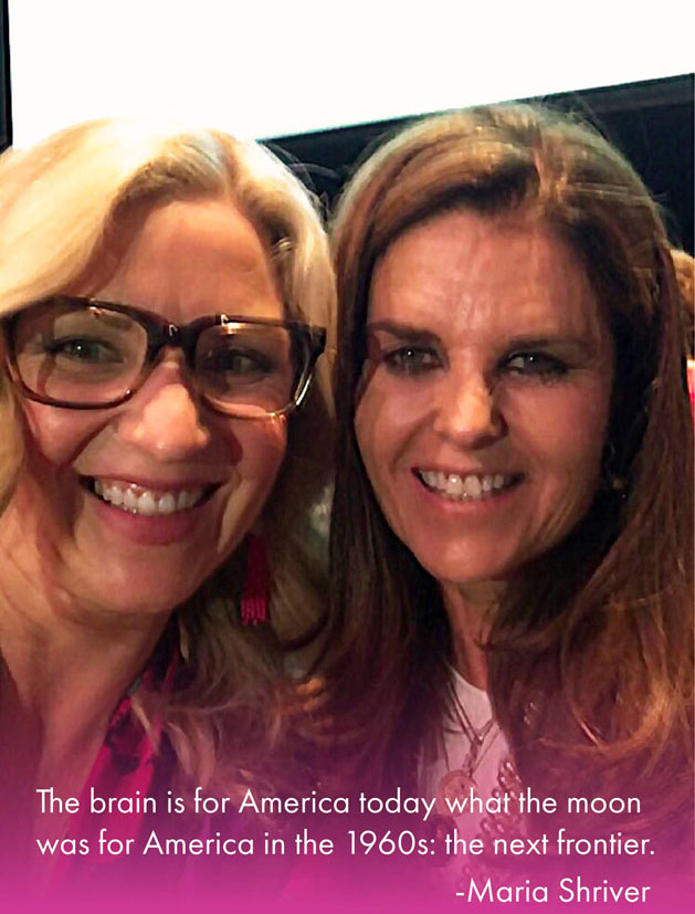 "A close-up photo of a blond woman wearing glasses standing next to a brown-haired woman wearing makeup. The bottom of the image fades to pink and includes a quote: ""The brain is for America today what the moon was for America in the 1960s: the next frontier."" The quote is attributed to Maria Shriver. At the top of the photo is a purple brain logo and the words 'Mickie's Miracles Blog'."